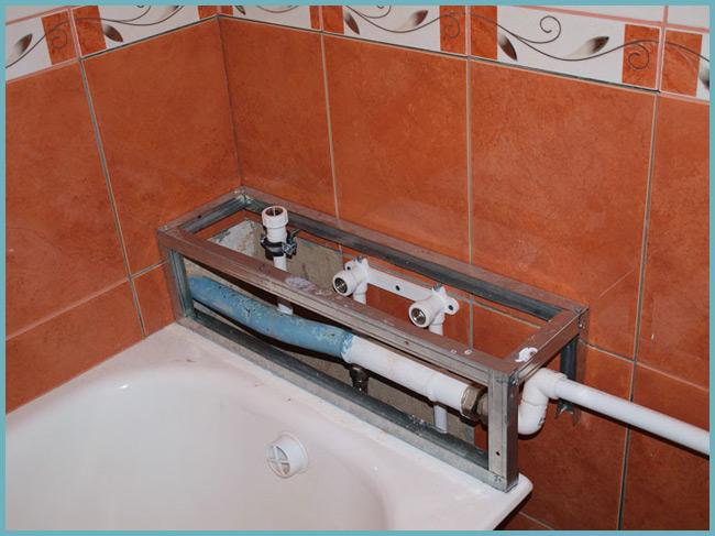 Короб в ванной для труб закрыть своими руками 839