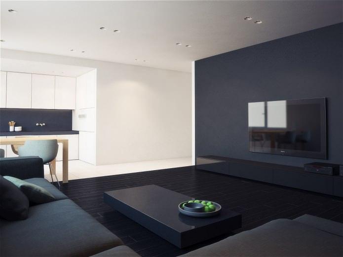 Zwart-wit ontwerp van het appartement. Zwart-wit interieur
