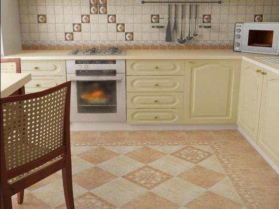 Creiamo in cucina un design del pavimento con piastrelle in ceramica