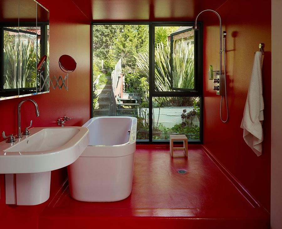 Ontwerp een zwarte en rode badkamer ontwerp en foto van het