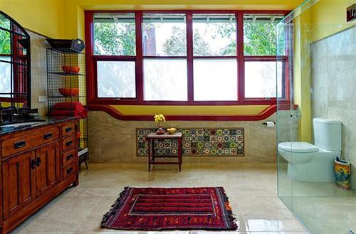 Rode Accessoires Badkamer : Ontwerp een zwarte en rode badkamer ontwerp en foto van het